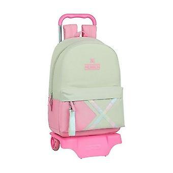 Skole rygsæk med hjul 905 München Rainbow Beige Pink