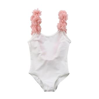 One Piece Swimwear Baby 3d Floral Straps Bathing Suit