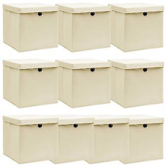 vidaXL Aufbewahrungsboxen mit Deckel 10 Stk. Creme 32x32x32 cm Stoff