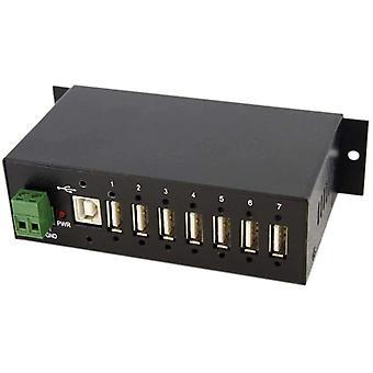 Wokex Industrieller montierbarer 7 Port USB 2.0 Hub, Schwarz