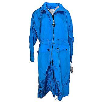 Avec Les Filles المرأة الكبيرة المتضخم النايلون المطر Anorak سترة الأزرق A442191