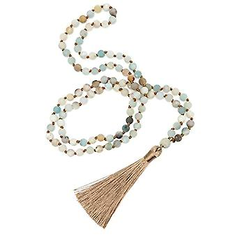 BENAVA Women's necklace with amazon pearls, with tassel, matte, multicolored, gold, length 80 cm