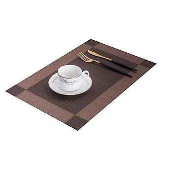 4pcs/lot PVC placemat wasbare eettafel mat diagonale frame stain matten en pads (koffie)