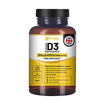 Vitamin D3 4000IU High Strength I 425 Vegetarian Tablets (14 Months Supply) by Prowise