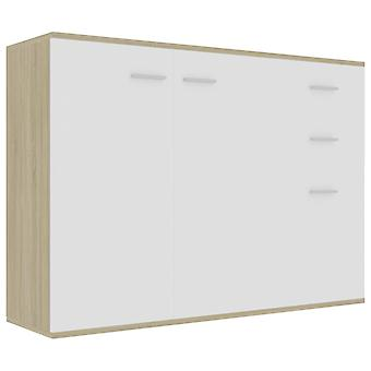 vidaXL Dressoir Wit Sonoma Eiken 105 x 30 x 75 cm Spaanplaat