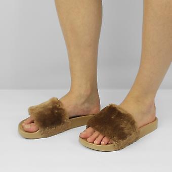 Shumo Tito Ladies Fur Sliders Taupe