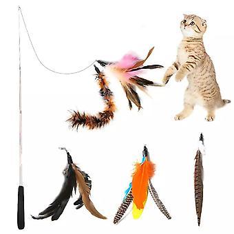 5pcs Juguetes para gatos con plumas - Juguete para gatos - Telescópico