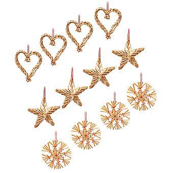 Sass & Belle Straw Decoraties - Set van 12