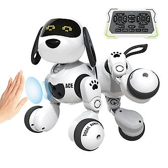 Deerc remote control rc dog robot toys for kids programmable smart robot with gesture sensing robotic kit with led eyes walking