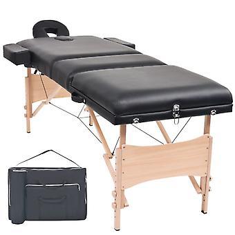 vidaXL Massageliege 3 Zonen Tragbar 10 cm Polsterung Schwarz