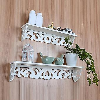 M White Wooden Carved Wall Shelf Display Hanging Rack Storage Rack Home Decor