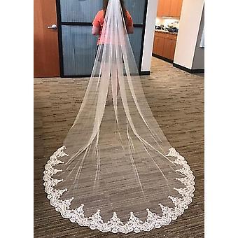 طبقة واحدة الدانتيل الحجاب الزفاف
