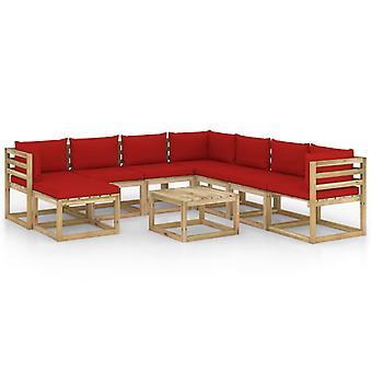 vidaXL 9 pcs. Garden Lounge Set with Cushion Impregnated Pine Wood