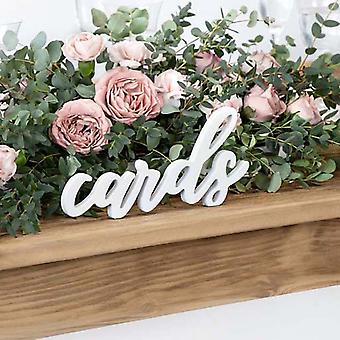 Signe blanc de cartes en bois, signe de mariage de cartes, décoration de mariage