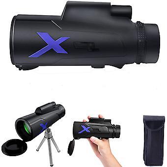 تلسكوب أحادي، 12x50 عالية الطاقة HD التكبير BAK4 المنشور ماء Monocular، مع حامل الهاتف الذكي والتلسكوب ترايبود، لمشاهدة الطيور السفر لعبة الحفل، (أسود)