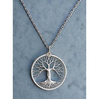 Livets träd hänge antik koppartråd halsband Silver