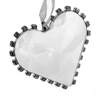 LAST FEW - 5cm Jewelled Edge Clear Acrylic Heart Hanging Christmas Ornament