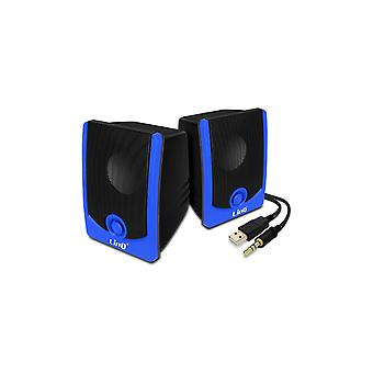 Wired 3.5mm Speaker Jack 3W x 2 LinQ A2033 Black and Blue