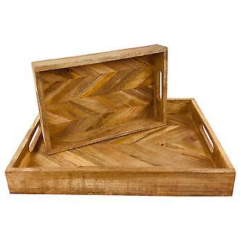 Visgraat vierkante houten rustieke trays set van 2