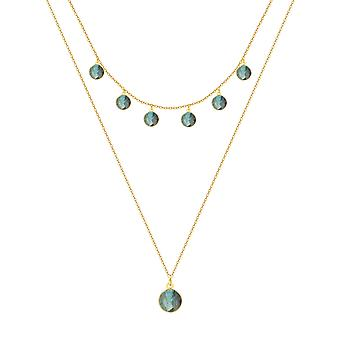 ADEN Gold Plated 925 Sterling Silver faceted Labradorite ronde vorm Ketting (id 4463)