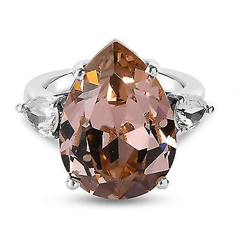 J Francis Champagne Crystal Solitaire Ring für Damen in Silber 10.75ct(M)