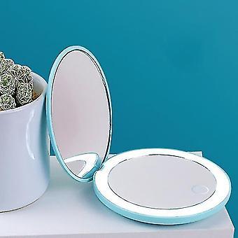 1Pc portátil espelho de maquiagem led iluminado dobrável redonda ampliação cosméticos viagem