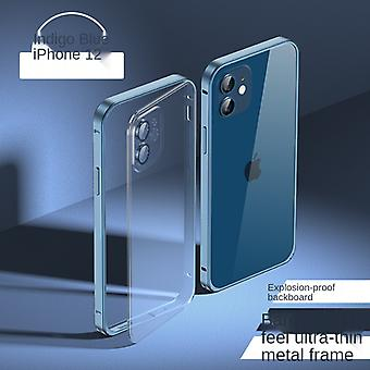 Suitable For Iphone 11pro Max Metal Frame Mobile Phone Case Frosted Transparent Pc All-inclusive Protective Cover