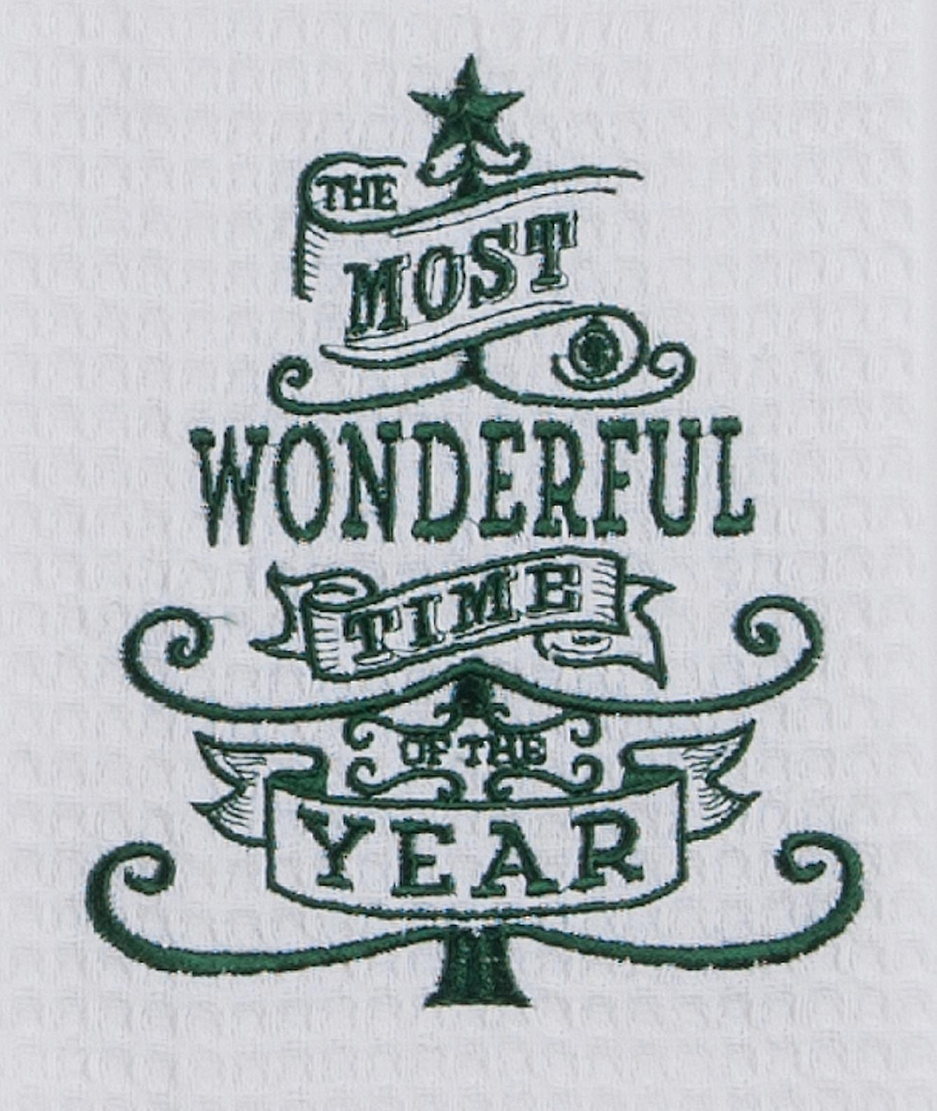 Most Wonderful Time of Year Embroidered Waffle Weave Kitchen Dish Towel Kay Dee
