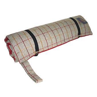 Letto di cane di lusso Tweed viaggi con Base in pelle scamosciata rossa