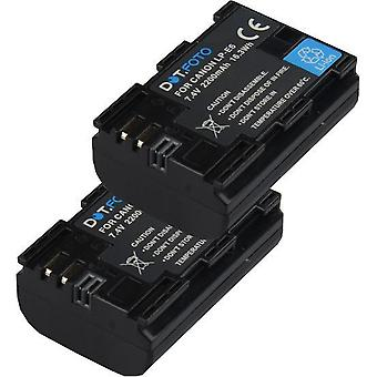 2 x Dot.Foto LP-E6 PREMIUM Replacement Rechargeable High Capacity Battery for Canon EXTRA - 7.4v / 2200mAh [See Description for Compatibility]