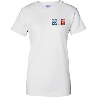 France Grunge Country Name Flag Effect - Tricolor - Ladies Chest Design T-Shirt