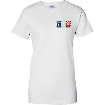 Frankrike Grunge land namn flagga effekt - Tricolor - damer bröst Design T-Shirt