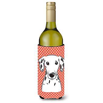 Red Checkered Dalmatian Wine Bottle Beverage Insulator Hugger