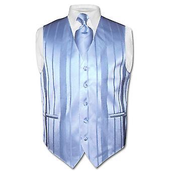 Hommes veste robe & cravate tissée Design rayé col cravate ensemble