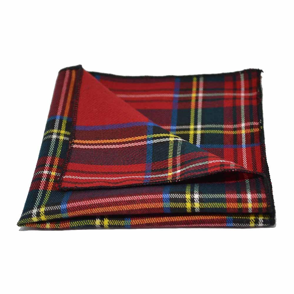 Traditional Red & Yellow Tartan Check Bow Tie & Pocket Square Set - Tweed, Plaid Country Look