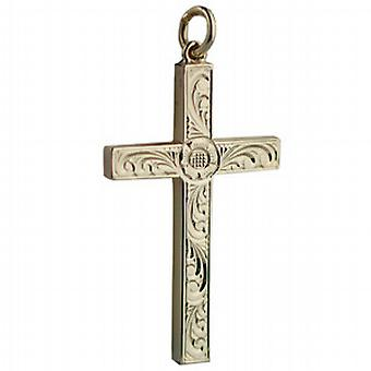 9ct Gold 40x25mm victorian hand engraved solid block Cross