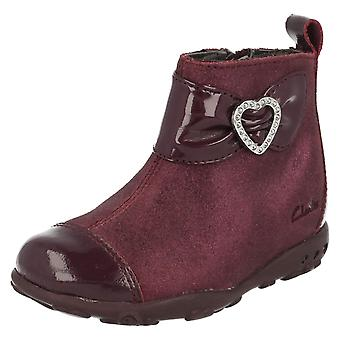 Girls Clarks Boots with Diamante Heart Detailing Ella Lady