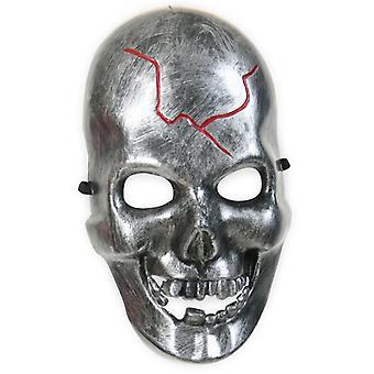 Dødningehoved maske ar silberfarbend kranium horror halvmaske