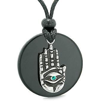 Alle ser følelse Buddha øje Hamsa Magic grønne krystal vedhæng halskæde
