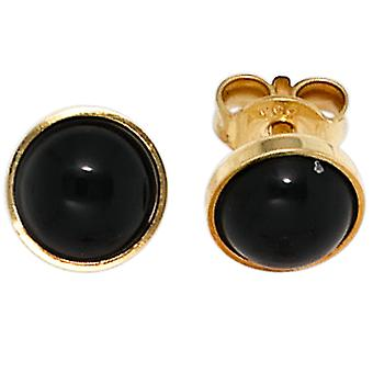 Ohrringe Ohrstecker Onyx-Ohrstecker BLACK 333 Gold Gelbgold 2 Onyxe Ohrring gold