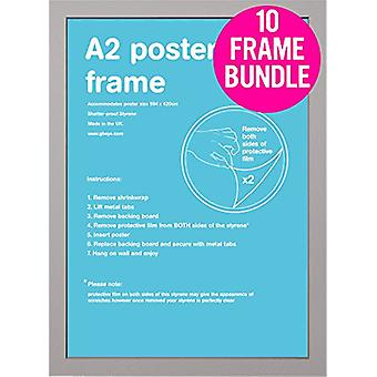 GB Posters 10 Silver A2 MDF Poster Frames 42 x 59.4cm Bundle