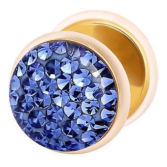 Falske snyder øret Plug Guld belagte, ørering, krop smykker, med Multi Crystal Sapphire Blue