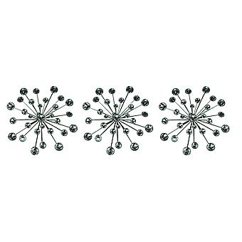 Jeweled 3D Bursting Star Wall Sculpture Set of 3