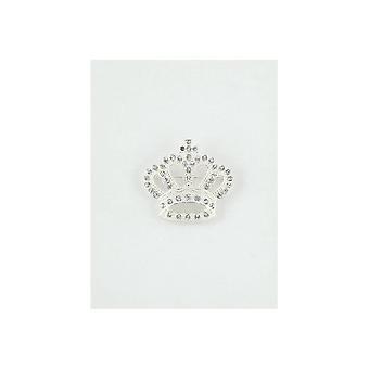 Union Jack Wear Crown Brooch - Silver