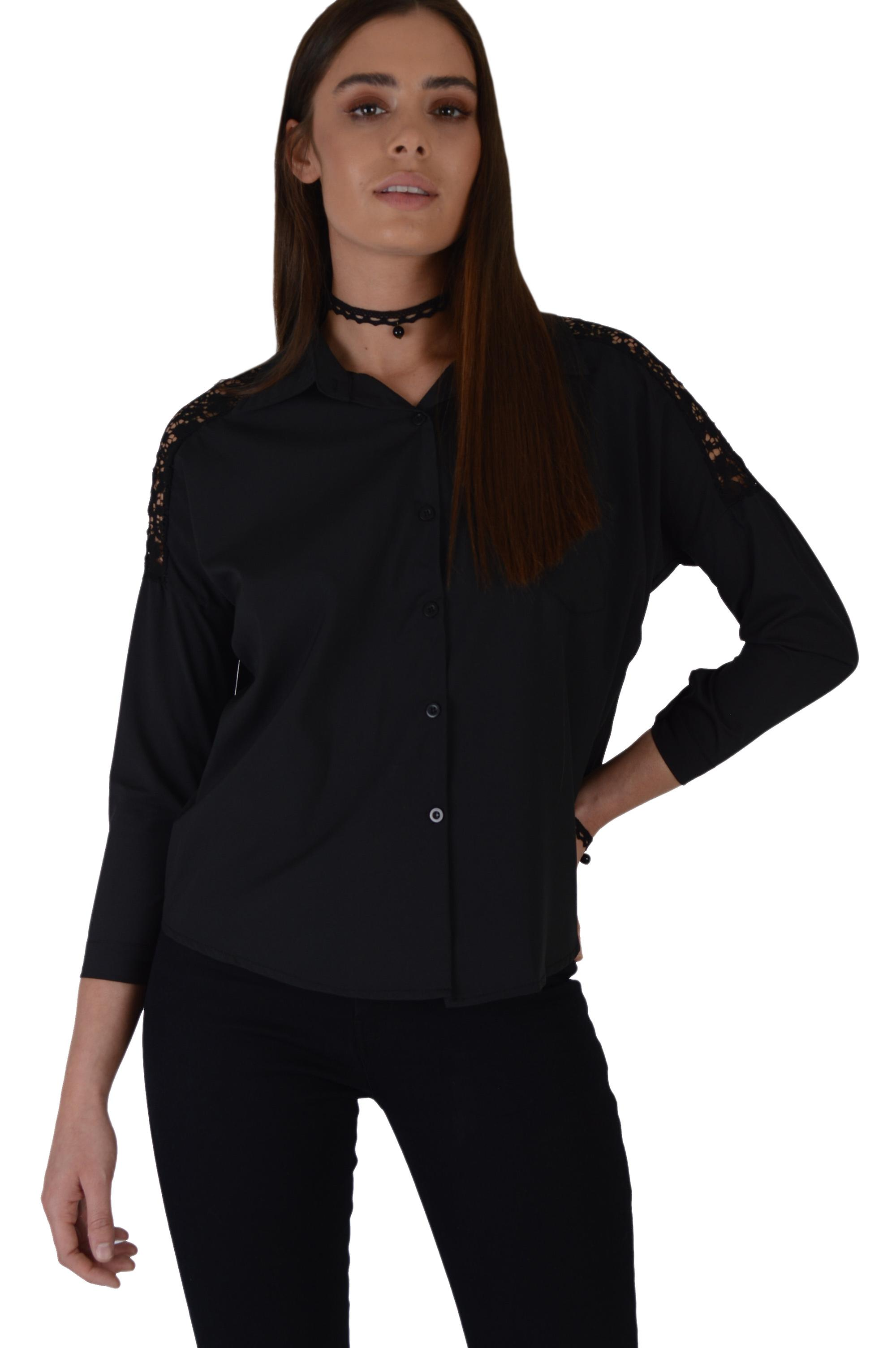 Lovemystyle Black Long Sleeved Shirt With Lace Inserts
