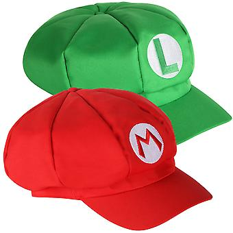 TRIXES Pack of 2 Mario And Luigi Hats Red And Green Video Game Theme Caps