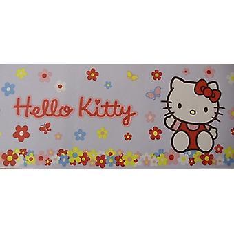 Hello Kitty Wallpaper Border Flowers Daisy Floral Cat Blue Multicoloured 10m