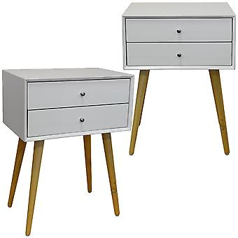 Unie - 2 Pack - hoogglans en Solid Wood Side Table / nachtkastje met 2 laden - wit / Pine
