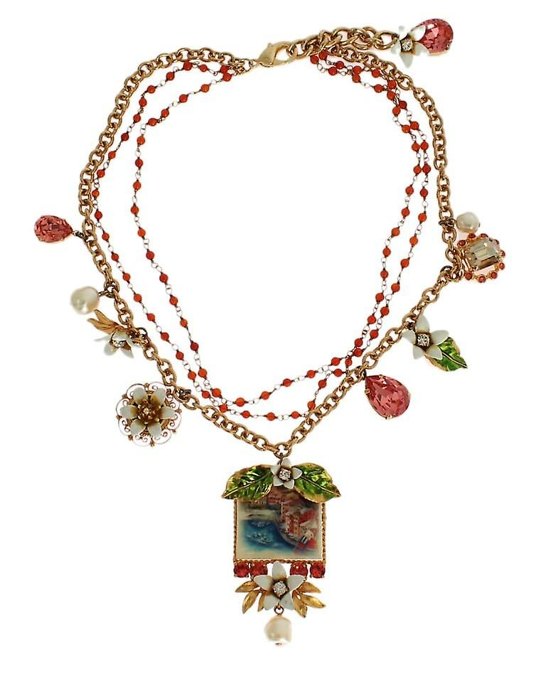 Gold floral crystal beaded sicily charms necklace