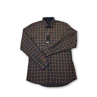 Olyp Casual Two Ply shirt in orange and blue check pattern